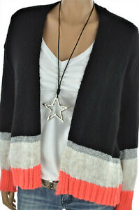 ITALY Strickjacke warme Cardigan Jacke Oversize mit Wolle Schwarz 36-42 NEU
