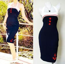 Vintage 50s Pencil Pin up dress Nautical Sailor Rockabilly EMO BLUE New Size L