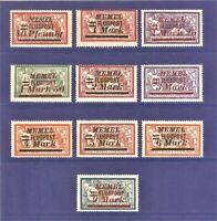 DR Memel Germany Rare WWI Stamp 1922 Overprint FLUGPOST AirMail Service Full Set