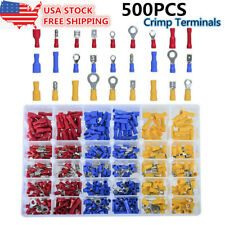 500Pcs Assorted Crimp Terminals Set Insulated Electrical Wiring Connector Kit US