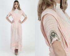 Vtg 1930s/40s Peach Cotton Dress Sheer Gauze Floral Lace Tea Lawn Edwardian Maxi