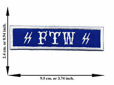 FTW Blue White Biker For Win Applique Iron on Patch Sew For T-shirt Jeans Cap