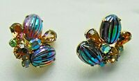 Vintage VENDOME Watermelon Cab & Amber Rhinestone Clip On Chunky Earrings