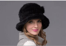 100% Real Winter Women Black Knitted Mink Fur Hat Cap Headgear Tuque Beanie Hats