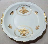 """VINTAGE 1950S SERVING DISH. GLASS WITH GOLD ROSES AND TRIM. 9"""" EXCELLENT COND."""
