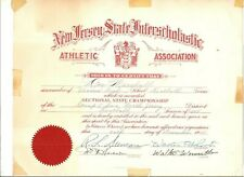 1948 New Jersey sectional state championship certificate, Don Marshall