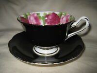 Royal Albert Old English Rose Black Bone China Cup & Saucer Made in England