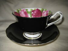 Royal Albert Old English Rose Black Bone China Cup & Saucer Made in England