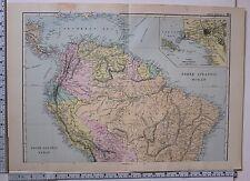 1891 ANTIQUE MAP ~ SOUTH AMERICA NORTH SHEET BRAZIL ECUADOR VENEZUELA LIMA