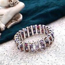 Violet AB Sparkly Crystal Beads & Silver Half Crystal Rings Bracelet For Women