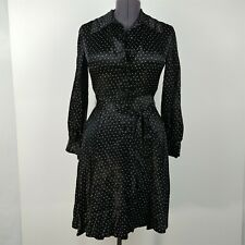 Vintage Black Polka Dot Long Sleeve Button Dress Womens Size S/M