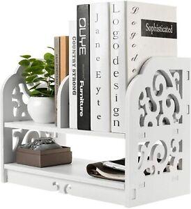 2 Tier Desktop White WPC Openwork Design Bookcase Organizer Storage Bookshelf
