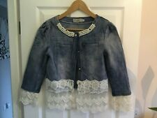 WUTONGYN DENIM JEANS JACKET WITH LACE SIZE M USA SMALL