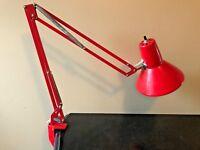 Vintage Red Articulating Swing Arm Desk Clamp Lamp Waso Verken AB Bohus Sweden