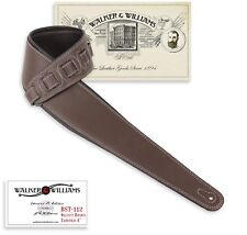 "Walker & Williams BST112 Dark Brown Extra Wide 4"" Padded Acoustic Guitar Strap"