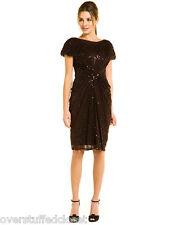 NWT $348 TADASHI SHOJI Sequin Tulle Dress Umber Brown XS