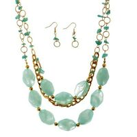 "20""  Blue Green Stone Bead 2 Strand Gold Layering Necklace & 1 1/4"" Earrings Set"