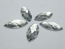 100 Clear Flatback Acrylic Horse Eye Rhinestone Gem 9X20mm No Hole