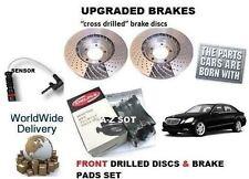 FOR MERCEDES E200 W212 2009--> FRONT DRILLED BRAKE DISC SET & PAD KIT+ SENSOR