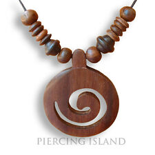 Halskette Amulett Anhänger Kette Maori Holz Design N022