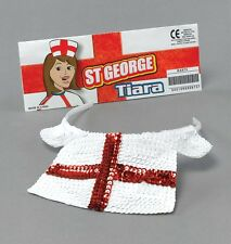 #ENGLAND SEQUIN WHITE + RED NURSE TIARA HAT ST GEORGE FANCY DRESS ACCESSORY
