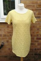 Next Size 12 Yellow Short Sleeve 2 Piece Lace Style Tunic T-shirt Top