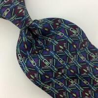 Vitaliano Pancaldi Tie Italy Maroon Blue Gold-Chain Square Silk Necktie Tie L4-F
