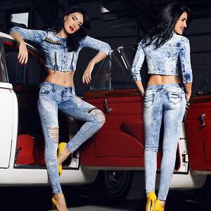 FOGGI Damen 2-Teiler Jeansjacke Push-Up Röhrenjeans Hüftjeans Jeansanzug XS-M