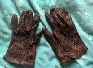 Vintage Brown Real Lace Leather Driving Gloves Medium