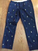 Polo Ralph Lauren Chino Slim Pants Navy Embroidered Crest Shield Men's Sz 38x32