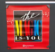 "Vintage Magician Poster 1987 ""The Magic Is You"" by New York Telephone Co. 24""x24"