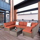 7 Pcs Rattan Wicker Furniture Set Sofa W/ Cushions Patio Garden Yard Maple Leaf