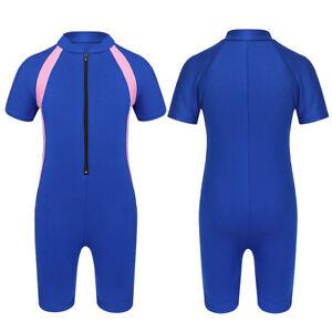 Kids Girls One Piece Swimsuit Front Zipper UPF 50+ Water Sports Shorty Wetsuit