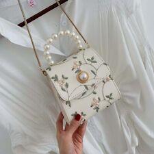 UK Ladies Pearl Embroidery Crossbody Bags Flower Mini Shoulder Bags Cute Handbag