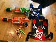 NERF Fury Fire Dart Tag Blasters 10 Shot Front Loading Revolver Guns And Vests