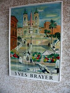 AFFICHE ENCADREE D'YVES BRAYER  DEDICACEE ET SIGNEE PAR YVES BRAYER .