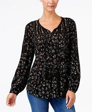 $54.50 Style & Co Petite S Black Floral Flower Tassel Tie Studded Peasant Top
