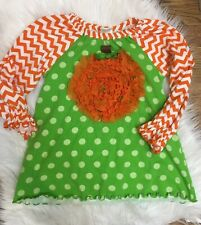 Mollie Millie Halloween Pumpkin Tunic Top Orange Green 6 Girls Chevron Boutique