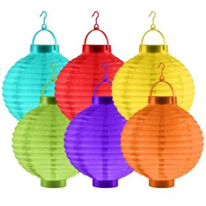 CHINESE STYLE PAPER LANTERNS WITH LED LIGHT Bright Colourful Glow Garden Party