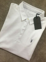 "ALL SAINTS OPTIC WHITE ""RACE"" S/S LOGO POLO SHIRT TOP - XS S M L XL - NEW & TAGS"