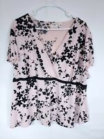 Cato Plus Size 26/28W Pink Black Floral Mock Front Stretch Top Cap Sleeve