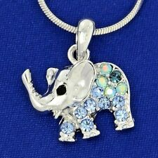 "Made With Swarovski Crystal Elephant Luck Animal Blue Pendant 18"" Chain Necklace"