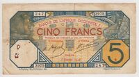 French West Africa Banknote 5 Francs P5Be 1928 F+ L'Afrique Occidentale LION
