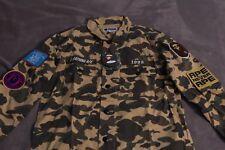 63151467 Mr. Bathing Ape Long Sleeve 1st Black Camo Military Shirt Size Large BAPE
