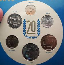 1968 ISRAEL 20th Anniversary JERUSALEM 6 Coins Specimen Set Collection i56990