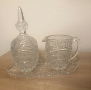 Vintage Cut Glass Creamer And Sugar Bowl lid Oval Tray Star of David Pattern