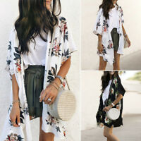 ZANZEA Women Floral Print Chiffon Kimono Cardigan Open Front Jacket Coat Plus