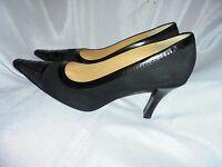 CHANEL WOMEN'S BLACK LEATHER / SUEDE SLIP ON HEEL SHOES SIZE UK 5.5 EU 38.5 VGC