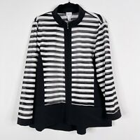 Chicos Weekends Size 2 Large L Perforated Stripe Full Zip Jacket White Black
