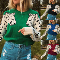Women Animal Print Loose Sweater Patchwork O-Neck Long Sleeve Knit Pullover UK